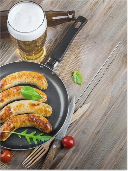 Plakát Mnichovská párky s rajčaty a rukolou - Jídla