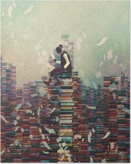 Plakát Muž čtení knihy, zatímco sedí na hromadu knih, znalost pojmu, ilustrační natírání