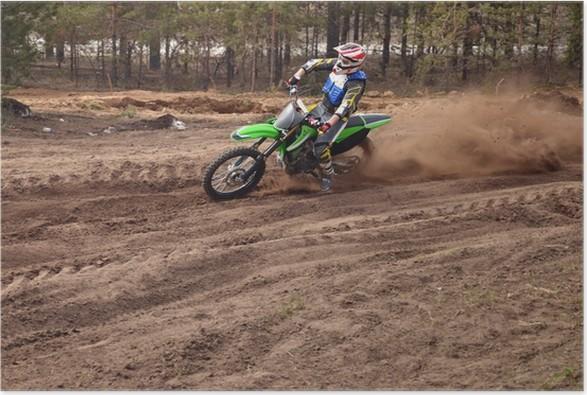 Plakát MX jezdec otočí z bezprostřední blízkosti písku - Extrémní sporty