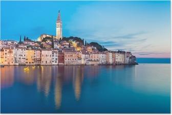 Plakat Nadmorskiej miejscowości Rovinj, Istria, Chorwacja.