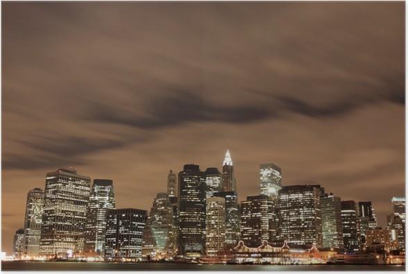 Plakát New York City panorama v noci - Americká města
