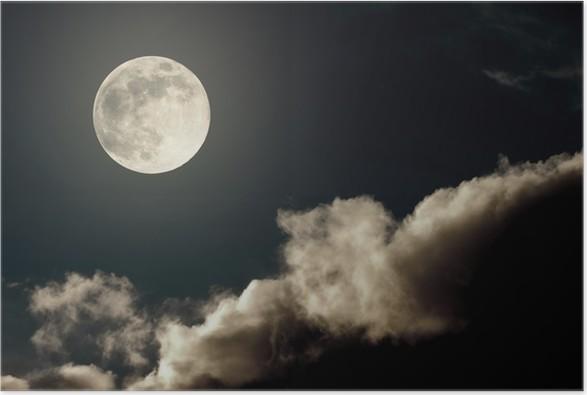 Plakát Noční oblohy s měsícem a mraky - Témata