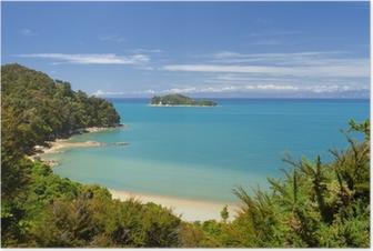 Plakát Nový Zéland krajiny. Národní park Abel Tasman.