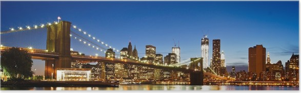 Plakát NYC Brooklyn Bridge Panorama - Brooklynský Most