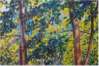 Plakat Obraz olejny krajobraz na płótnie - jesienne drzewa