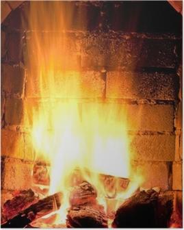 Plakat Ogień w kominku