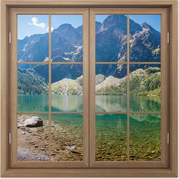 Plakat Okno brązowe zamknięte - Panorama Morskiego Oka - Widok przez okno