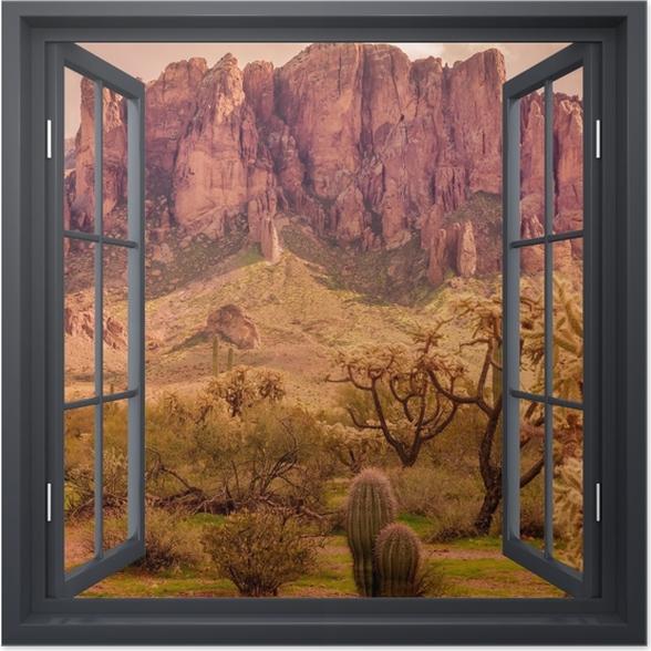 Plakat Okno czarne otwarte - Arizona - Widok przez okno