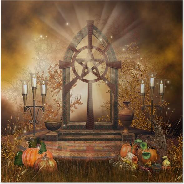 Plakát Oltář v louce s podzimní zeleninou a svíčky - Mezinárodní svátky