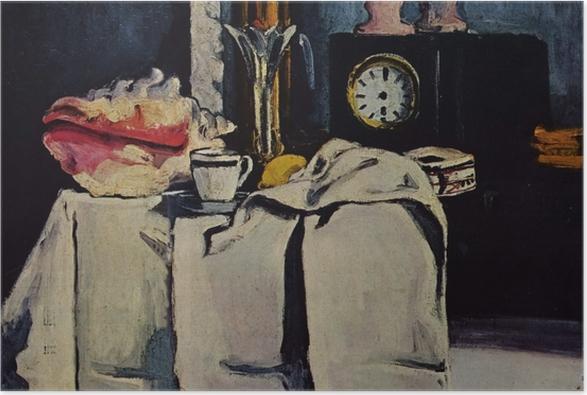 Plakat Paul Cézanne - Martwa natura z czarnym zegarem - Reprodukcje