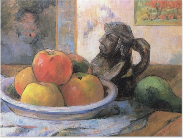 Plakat Paul Gauguin - Martwa natura z jabłkami, gruszką i kubkiem w kształcie postaci - Reprodukcje