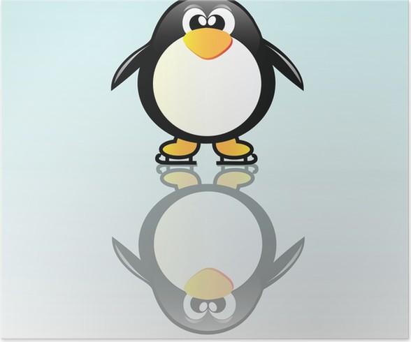 Plakát Penguin na brusli - Severní a jižní pól
