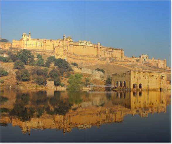 Plakát Pevnost a jezero v Jaipur Indie - Asie