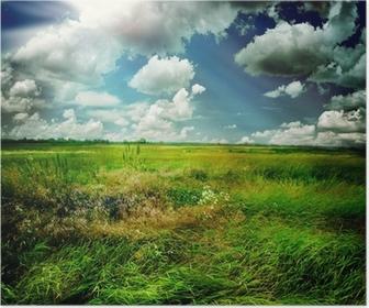 Plakat Piękna przyroda krajobrazu wiejskiego
