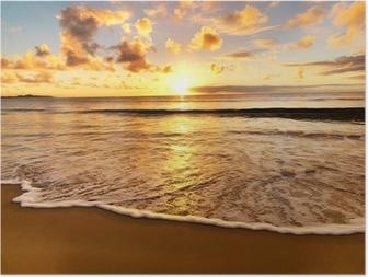 Plakat Piękny zachód słońca na plaży