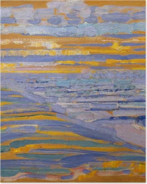 Plakat Piet Mondrian - Widok z wydmy z plażą i pomostami - Reprodukcje