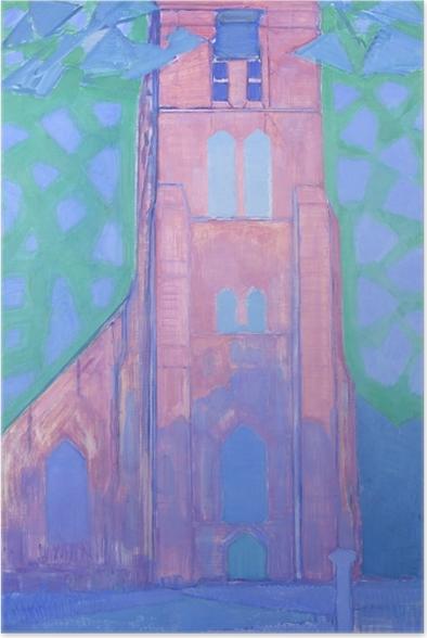Plakat Piet Mondrian - Wieża kościoła w Domburgu - Reprodukcje