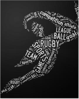 Plakat Piktogram piłka nożna rugby z białym sformułowań
