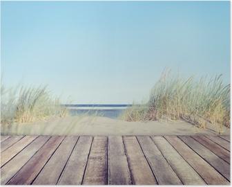 Plakat Plaża i drewniane deski