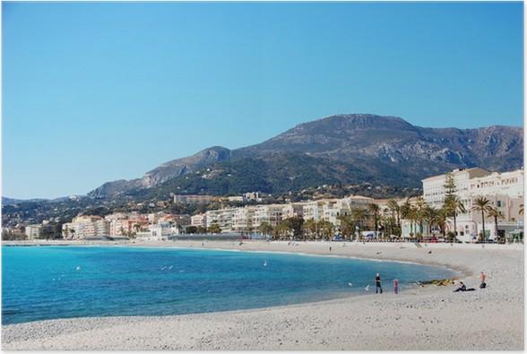 Plakát Pobřeží vesnice Menton - French Riviera - Francie - Prázdniny
