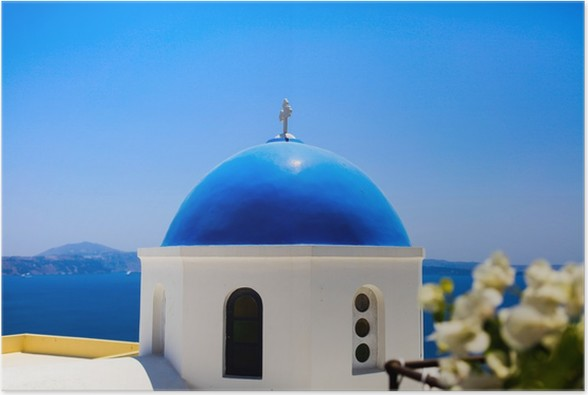Plakát Pohled na kostel v Oia, Santorini - Evropa