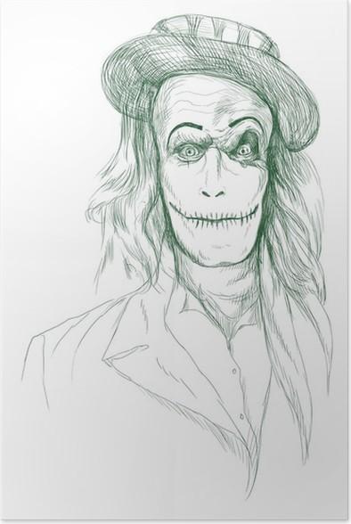 Plakát Portrét nemrtvých (zombie, strašidelné klaun ...), ruční kresba - Ezoterika