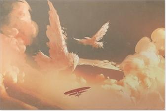 Plakat Ptaki w kształcie chmury w niebo zachód słońca, ilustracja malarstwo