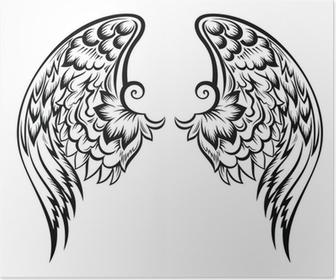 Plakat Skrzydła Anioła Tatuaż Projekt Pixers żyjemy By