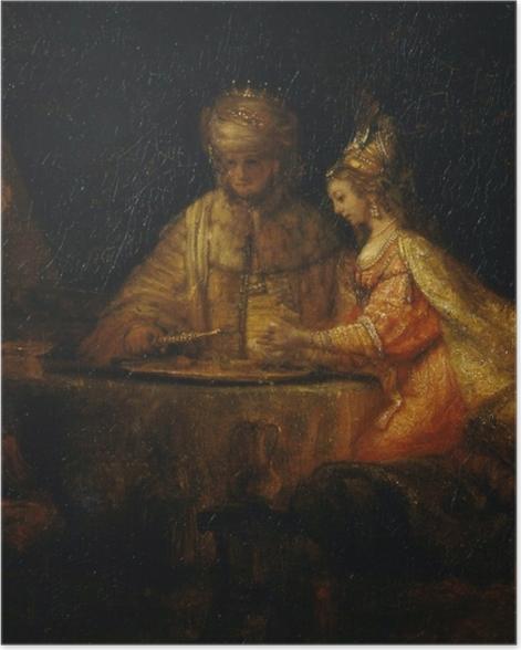 Plakat Rembrandt - Ahaswer, Haman i Estera - Reprodukcje