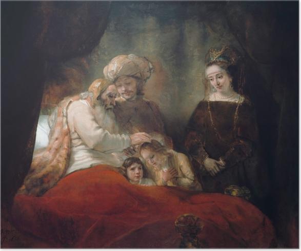 Plakat Rembrandt - Błogosławieństwo Jakuba - Reprodukcje