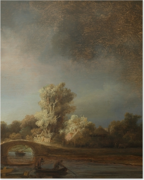 Plakat Rembrandt - Pejzaż z kamiennym mostem - Reprodukcje