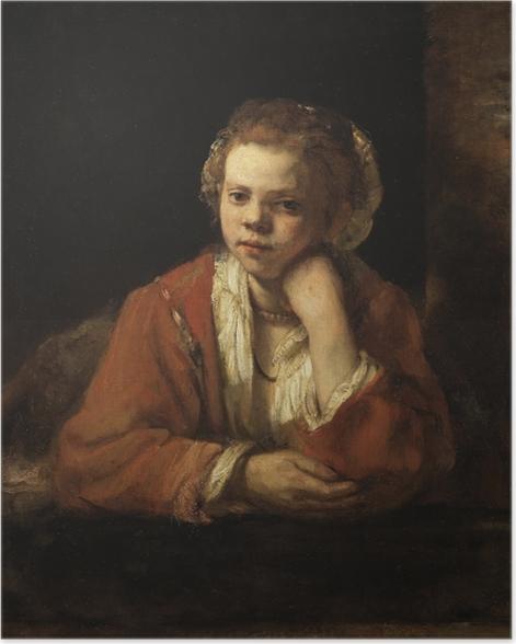 Plakat Rembrandt - Portret dziewczyny w oknie - Reprodukcje