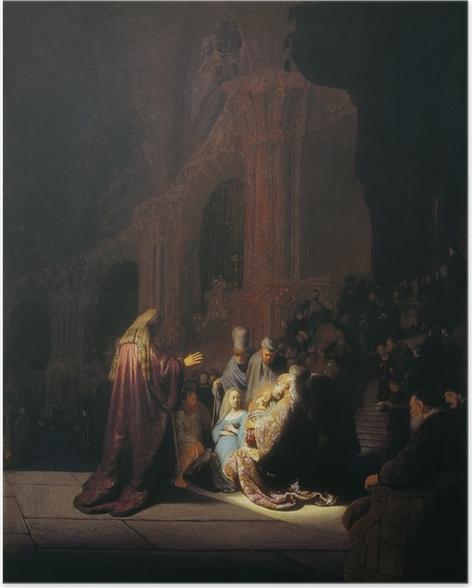 Plakat Rembrandt - Symeon w świątyni - Reprodukcje