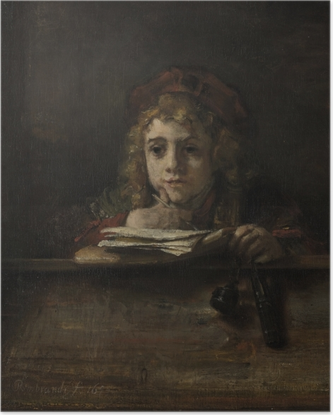 Plakat Rembrandt - Tytus za pulpitem - Reprodukcje