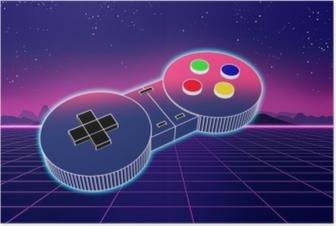 Plakat Retro gemowy kontroler na kolorowej tła 3d ilustraci