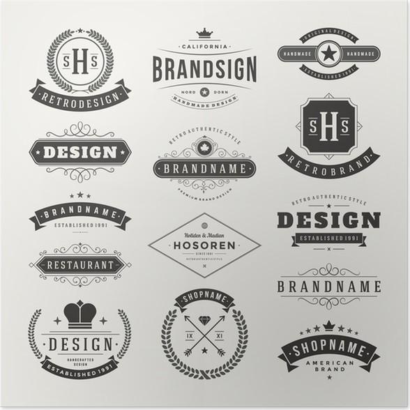 Plakát Retro Vintage insignií nebo Loga nastavit vektorové prvky návrhu - Prvky podnikání