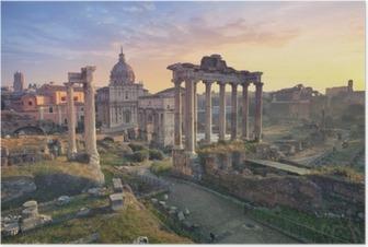 Plakát Roman Forum. Obraz římského fóra v Římě během svítání.