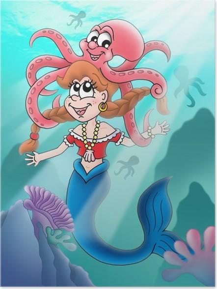 Plakát Roztomilá mořská panna s chobotnicí - Osud