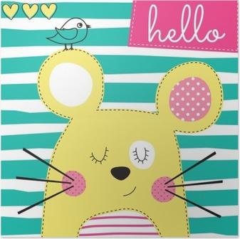 Plakát Roztomilý žlutá myš s pták vektorové ilustrace