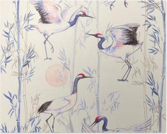 Plakát Ručně tažené akvarel bezproblémové vzorek s bílými japonských tančících jeřábů. Opakovaná pozadí s jemnými ptáky a bambusu
