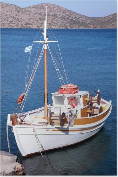 Plakát Rybářská loď na Mirabello Bay, Kréta, Řecko - Lodě