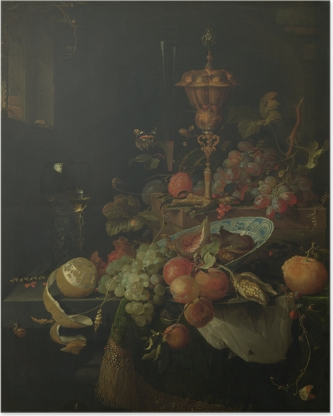 Plakat samoprzylepny Abraham Mignon - Still life with fruit and a bowl on a roosters leg - Reprodukcje