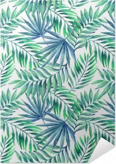 Plakat samoprzylepny Akwarela tropikalnych liści bezszwowe wzór