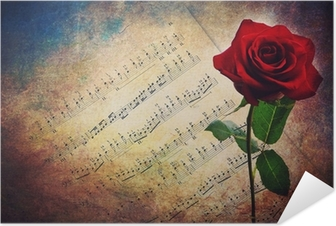 Plakat samoprzylepny Antique muzycznych gości z czerwona róża