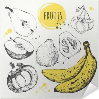 Plakat samoprzylepny Banan, mangostan, jabłko, bergamotka. Ręcznie rysowane zestaw ze świeżą żywnością.