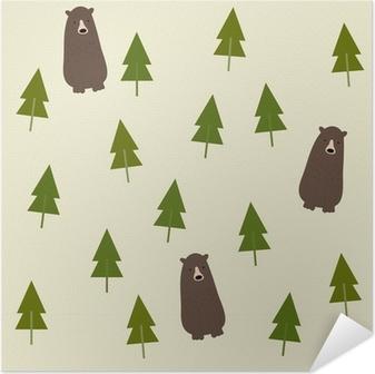 Plakat samoprzylepny Bear and forest seamless background.