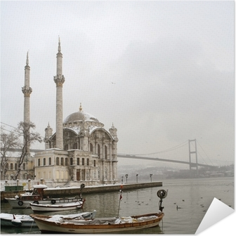Plakat samoprzylepny Bosphorus Bridge i Meczet Ortakoy w Stambule Turcja