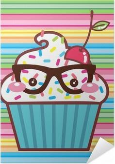 Plakat samoprzylepny CupCake Kawaii Geek