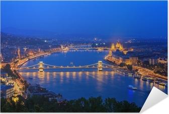 Plakat samoprzylepny Dunaj. Budapeszt. Węgry