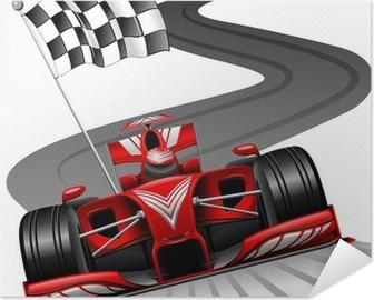 Plakat samoprzylepny Formuła 1 czerwony samochód na tor wyścigowy